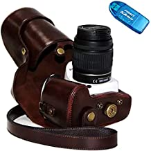 First2savvv XJPT-K30-10G10 Funda Cámara cuero de la PU cámara digital bolsa caso cubierta con correa para Pentax K5II K5IIS K30 K50 lente with 18-55 18-135 mm lens marron oscuro + lector de tarjetas SD