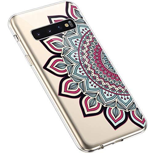 Uposao Kompatibel mit Samsung Galaxy S10 Silikon Handyhülle Durchsichtig TPU Schutzhülle Transparent Blumen Muster Etui Ultra Dünn Weiche Crystal Clear Tasche Case,Henna Blumen Rot