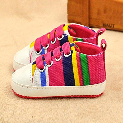 IGEMY Mode Bébé garçon Chaussures sport souples et antidérapantes Chaussettes Baskets en toile Rose vif