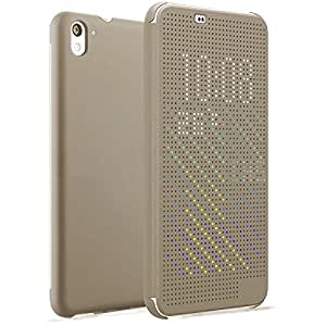 Micomy Dot View Touch Sense Flip Back Case Cover for HTC Desire 626 -Gold