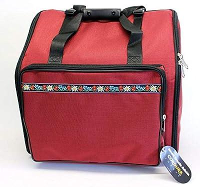 Steirische Harmonika Tasche Rucksack DELUXE-PRO 3-reihig Edelweiss rot