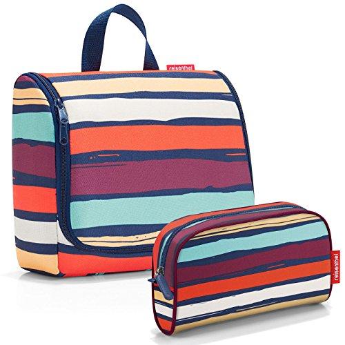 Reisenthel Exklusiv-Set: toiletbag XL 28x25x10cm große Kulturtasche zum aufhängen aufklappbar + GRATIS makeupcase - artist stripes (bunte...