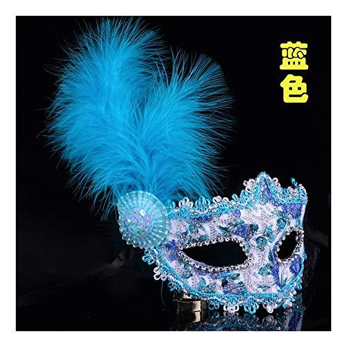 Feder Maske Blauen Kostüm - SCLMJ Halloween Party Maske Spitze Gemalt Feder Maske Kostüm Party, Blau