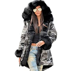 63c3e29bffd Roiii Women Winter Warm Thick Faux Fur Coat Hood Parka Long Jacket Size  8-18 - Women s Plus Size Clothing