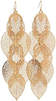 Grace Jun Gold Color 7 Leaf Large Dangle Earrings for Women Chandelier Pierced Earrings