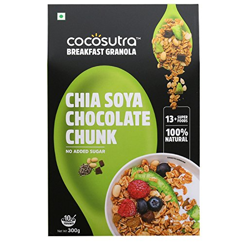 COCOSUTRA Granola – Chia Soya Chocolate Chunk, Sugar Free Breakfast Cereal with Oats, Nuts, Seeds & Dry Fruits (300gm)