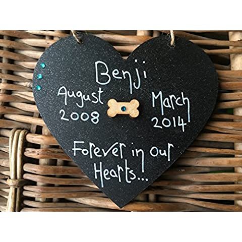 Little Miss Scrabbled 'Forever commemorativa per cane a forma di cuore nero in nostro cuore (Cat Targa Commemorativa)
