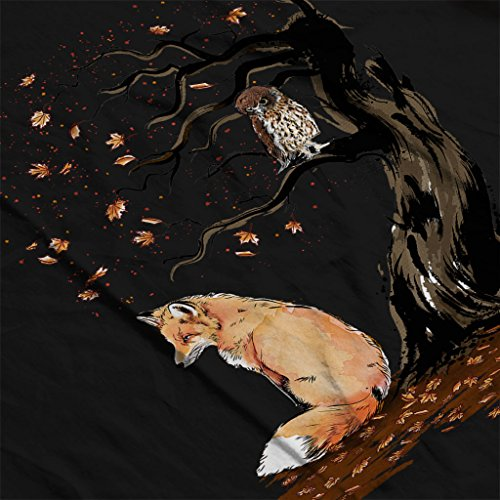Animals Winds Of Autumn Fox And Owl Women's Hooded Sweatshirt Black