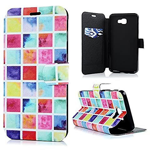 J5 Prime Leather Case KASOS On 5 2016 Cover Colour Mixed Blocks Colourful Diamond Matte Leather Front Closure [Flip Wallet Purse Leather Shell]Notebook Design[Cash/Card Slots] Change Pouch TPU Inner Bumper [Kicktand Cradle] Magnetic Closure Lock Protective Skin for Samsung Galaxy J5 Prime/On 5 2016