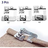 3Pcs breite Hem Hemmer einstellbare Rolled Fuß Set für Low Shank inländischen Nähmaschinen Startseite Snap auf Presser Feet Kit, Silber