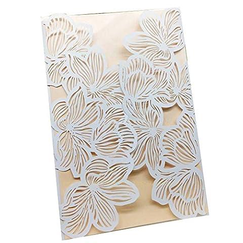 Carte d'invitation de mariage 10pcs Fête de damassé blanc Fleur