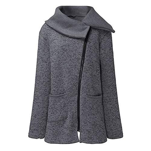 FIRSS Damen Schal Kragen Wintermantel | Zip Trenchcoat | Loose mit Taschen Trenchcoat | Dünner Baseball Mantel | Normallack Jacke | Casual Lose Langarmshirt Outwear