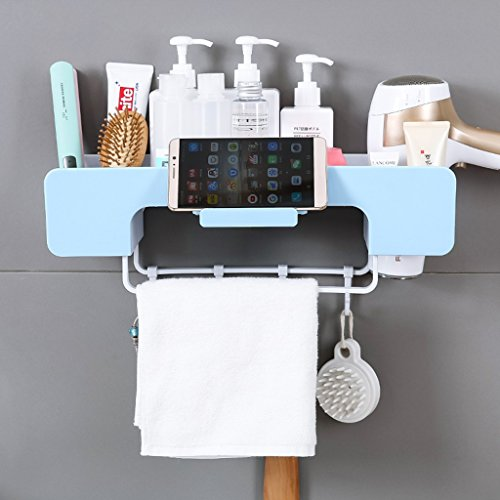 Yxx max nischenregal Wand-Badezimmer-Regal-Multifunktionslagerregal-Haartrockner-Zahnstangen-Tuch-Haken-Aufhänger (Farbe : Pink)