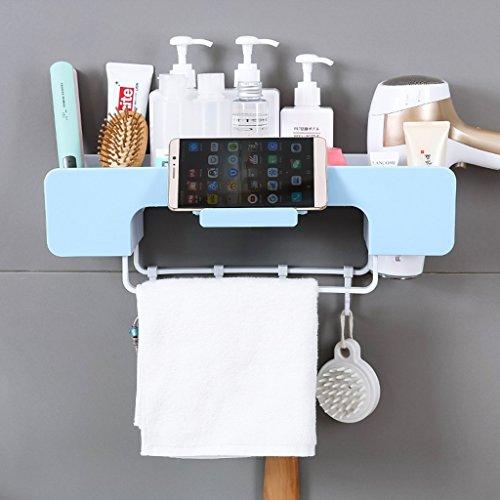 Shuang Wand-Badezimmer-Regal-Multifunktionslagerregal-Haartrockner-Zahnstangen-Tuch-Haken-Aufhänger 3326 (Farbe : Pink)