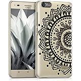 kwmobile Funda para Huawei G Play Mini - Case de cristal plástico para móvil - Cover trasero Diseño diseño girasol en negro transparente