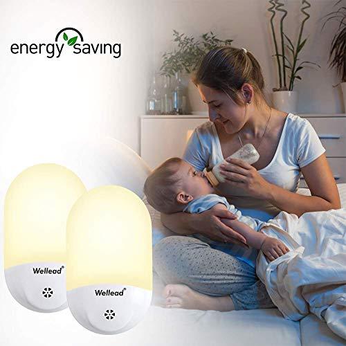 Wellead Nachtlicht Baby Steckdose Automatisches An / Aus-Licht Lichtsensor LED Nachtlicht Kinder Bewegungsmelder Nachtlampe Kinderzimmer Orientierungslicht für Schlafzimmer Badezimmer Warmweiß 2 Stück