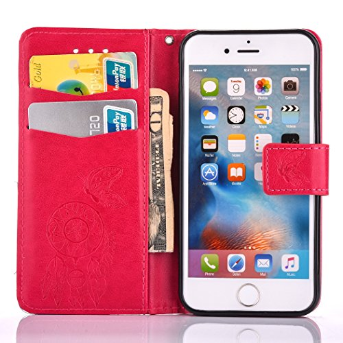 iPhone 6S Plus Brieftasche Hülle - Cozy Hut Ultra Slim Leder Tasche Hülle Etui Schutzhülle Ständer Smart Cover Case für iPhone 6S Plus,[Campanula Blume Muster] PU Leder Flip Bookstyle Lanyard Folio Co Rote