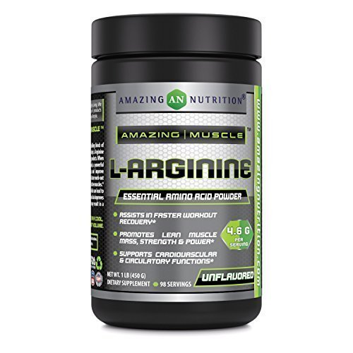 Amazing Muscle L-Arginine Essential Amino Acid Powder – Net Wt. 1 lb- Unflavored – 4.6g Per Serving (Approx. 98 servings)- Workout Muscle Recovery Supplements * (1 Lb Net)