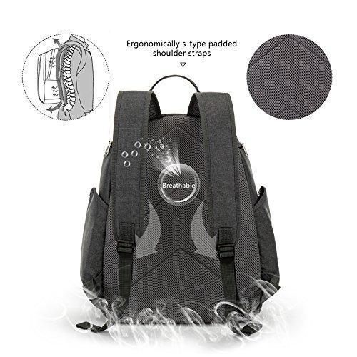YONOVO Baby Windeltasche Windelrucksack mit Wickelauflage Isolierfach (Grau) grau