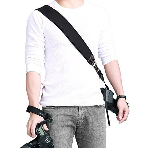 Powerextra Tracolla Reflex Canon Nikon Fotocamera, Camera Cintura Strap Cinghia Regolabile PU pelle per Sony Fujifilm Pentax DSLR Panasonic ecc - Nero