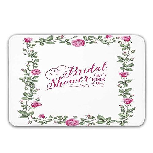 Kinhevao Brautduschen-Dekorations-Haustür-Matte, Rosen-Knospen-Blumenblatt-Rahmen-Braut-Party-Thema-Bild-Fußmatte für inneres oder äußeres