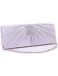 Fashion Rhinestones Decor Pleated Front Design Women's Bridal Evening Clutch Bag Handbag Tote Shoulder Bag