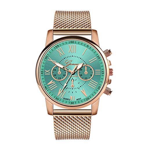 YEARNLY Damen Uhr Armbanduhr Frauen Multi Zifferblatt Quarz Uhr mit Legierung Armband Beige, Schwarz, Blau, Weiß, Rot, Rosa, Kaffee, Grün (Mk Rose Gold-männer Uhren)