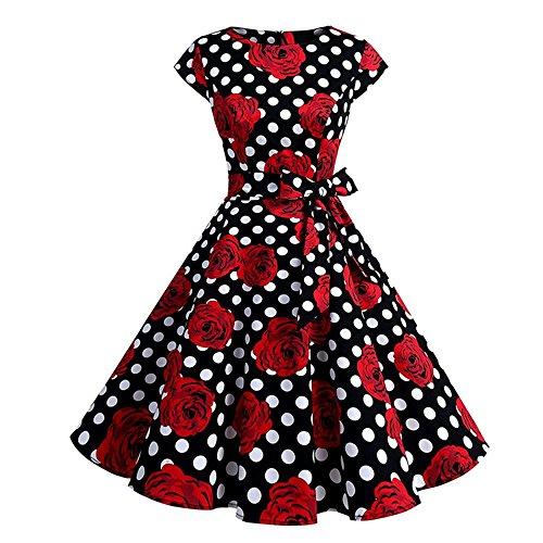 YAMEE Damen Kleid Abendkleid Cocktailkleid Skaterkleid Elegant Festlich Partykleid Knielang (L,...