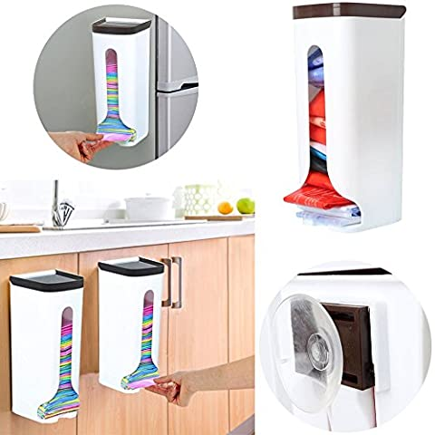 VENMO Home Grocery Plastic Bag Holder Organizer Hand Over Cabinet, Kitchen Plastic Rubbish Bag Dispenser Box Wall Mount Saving