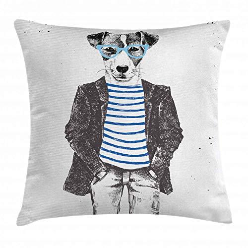 funny cat Schrullige dekorative Kissen Kissenbezug verkleiden Sich Hipster Hund und Brille handbemalte Kaliko Mode Tier Dekoration Platz Akzent Kissenbezug schwarz weiß blau,45x45