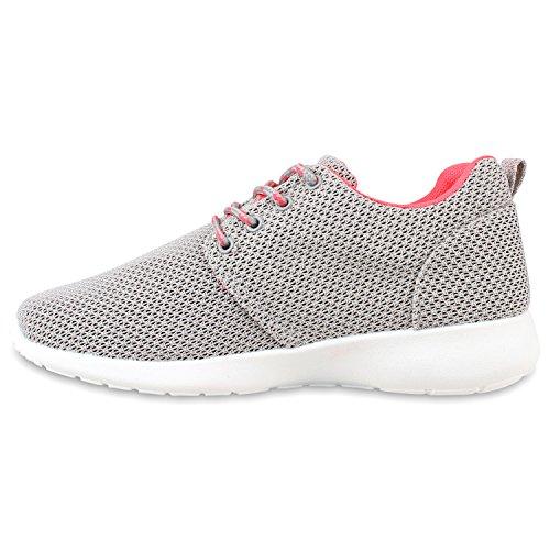 Damen Laufschuhe | Modische Sportchuhe| Sneaker Profilsohle |Glitzer Pailletten Sneakers | Runners Snake Blumen Grey