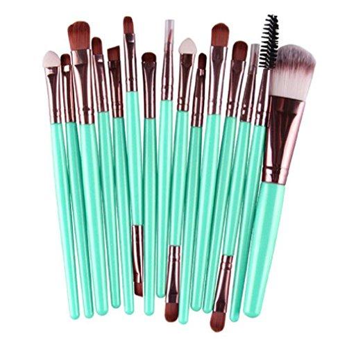 Pinceaux à maquillage, Tonsee 15pcs/set Outils Brosse Cosmétiques Set Maquillage Trousse de toilette Laine ensemble de maquillage, Café