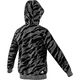 adidas Jungen Linear Hood Kapuzen-Sweatshirt, Dark Grey Heather/Black/White, 128