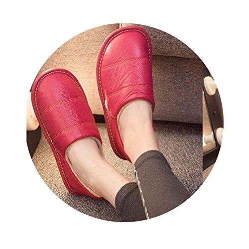 Tellw Automne Et Hiver Véritable Pantoufles À La Maison À La Maison Hommes Et Femmes En Bas Velours Tendon Intérieur Couples Non Slip Pantoufles Chaudes Moutons Rose