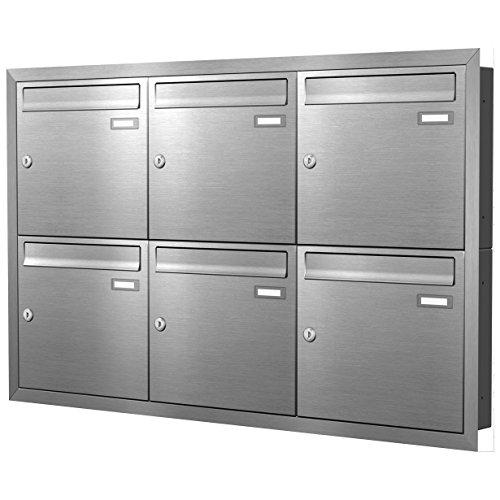 Max Knobloch Unterputz-Briefkastenanlage Express Box UP60-110-E Edelstahl (6 x 12 Liter)