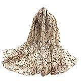 NEEDRA Mode Frauen Damen Schal Blätter Infinity Wrap Seidenschal Reise Schals