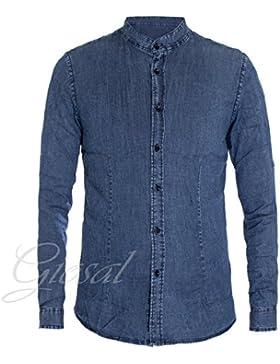 Giosal Camicia Uomo Jeans Denim Collo Alla Coreana Slim Casual