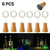 6 Stück 10 LED Solarenergie Flaschenlichter Lichterketten mit 1M kupferner Draht Form Stab lampe für Flasche DIY, Partei, Hauptdekor, Hochzeit und Halloween (bunt)