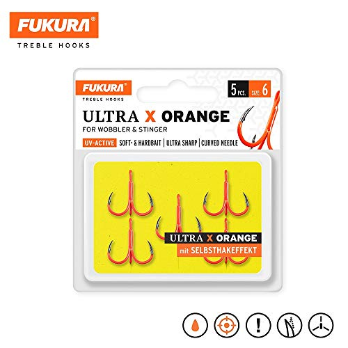 Fukura Ultra X Orange Drillinge - Drillingshaken, Größe/Packungsinhalt:Gr. 6 / 5 Stück