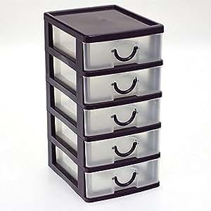 petit bloc coffret tour boite de rangement 5 tiroirs plastique violet cuisine. Black Bedroom Furniture Sets. Home Design Ideas