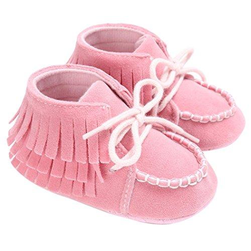 Igemy 1Paar Neugeborene Troddel Soft Sole Schuhe Baby Jungen Mädchen Anti-Rutsch Kleinkind Krippe Prewalker Rosa