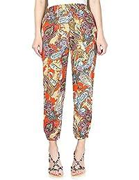 ADELINA Pantalones Harem Mujer Vintage Fashion Floreadas Pantalones Verano  Cintura Alta Elásticos Elegantes Anchas Casual Pantalones 4cf8586405b6
