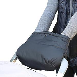 Handwärmer, Handschuhe Handmuff Muff mit Fleece Innenseite, wasser- und windabweisend, atmungsaktiv Fingerwärmer, Universalgröße für Kinderwagen, Buggy, Radanhänger – Schwarz