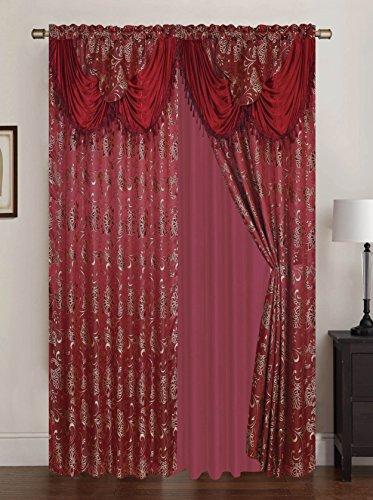 Rt designers collection clayton jacquard doppia tenda a pannello con 45,7cm attaccato mantovana, bordeaux, 108x 213,4cm
