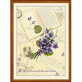 """Riolis–Kit de punto de cruz, diseño de """"Love Letras y violetas, 100% algodón, multicolor"""
