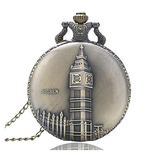 Big Ben Reloj de Londres cepillado bronce efecto envejecido/vintage caso hombres de cuarzo reloj de bolsillo collar-en 32pulgadas/80cm cadena