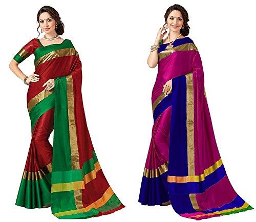 Aer Decor Sarees Women's Cotton Silk Designer Saree With Blouse (Pack Of...