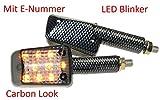 Motorrad Mini Blinker LED Steve carbon getönt E-geprüft für ATV BMW F R Honda CB CBR Kawasaki ER GPZ Z ZX Ninja Suzuki DR GS GSR GSX RGV SV Yamaha DT FZ1 6 RN TDR XT XJ YZF