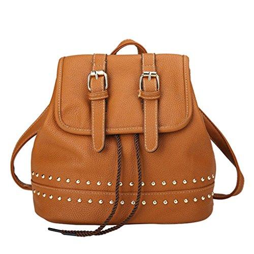 Bellelove Damenmode Retro Style Rucksack mit Nieten Kordelzug Mehrere Farben Polyester Futtermaterial (Braun)