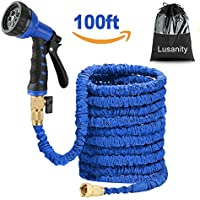 Lusanity Hose Pipe Blue 100FT Stronger Double Latex Inner Tube Garden Hose Solid Brass Prevent Leaking Strongest Expandable (With Valve) Garden Water Hose with Extra Strength Fabric and Professiona